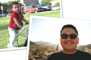 two snapshots of same boy, first as toddler with walker and then as a young man