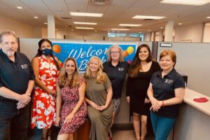 RSK Staff members on first day back for in-person services