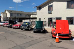 a row of classic cars